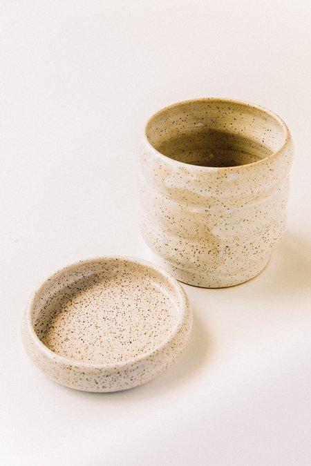 Costa Mesa Ceramics Studio Wavy Planter Saucer Set - White Speck