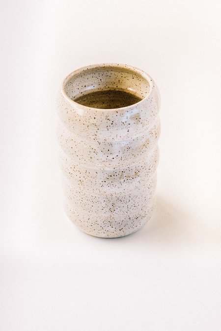 Costa Mesa Ceramics Studio Wavy Vase - White Speck