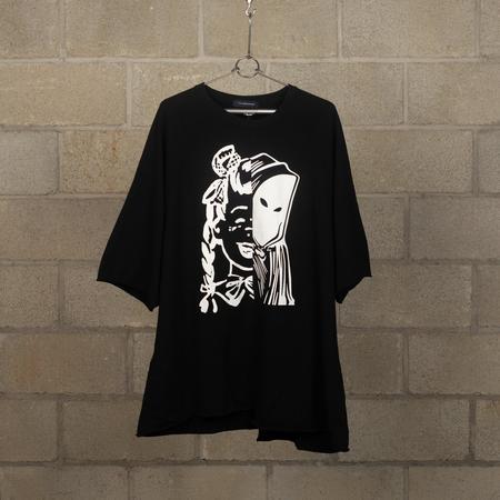 JohnUNDERCOVER Split Graphic Cut-Off Sweatshirt - Black
