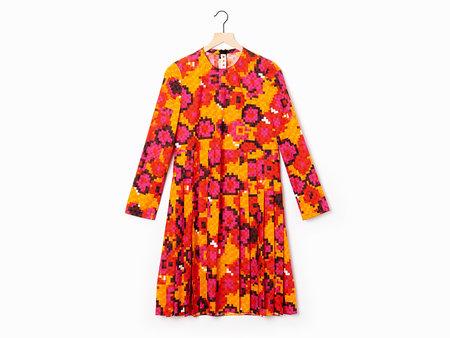 Marni Box Pleat Dress - Pink/Gold