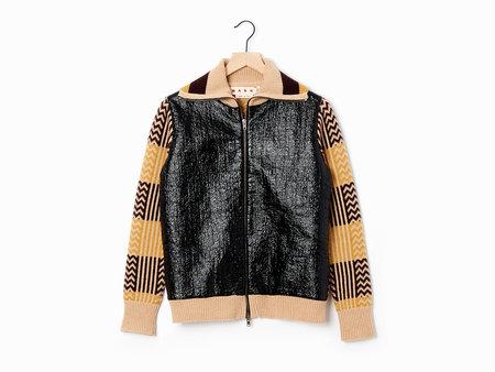 Marni Patent Cardigan - Sesame/Black