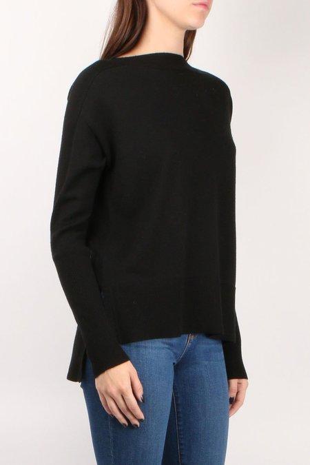 Cathrine Hammel Short Wide Crewneck Sweater with Splits - Black