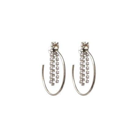 Joomi Lim Medium Hoop Earrings with Fringe Crystals & Pearls - Rhodium/Crystal/White
