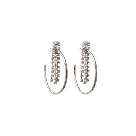 Joomi Lim Medium Hoop Earrings with Fringe Crystals - Rhodium/Crystal
