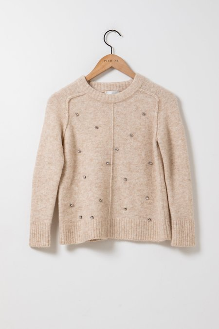 Forte Forte Baby Alpaca Round Neck Sweater - light tan