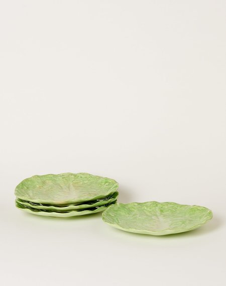 Vintage Set of Four Wannopee Pottery Lettuce Leaf Plates