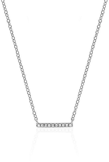 EF Collection Diamond Mini Bar Necklace - 14k White Gold