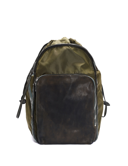 Guidi Nylon & Leather Transformer Backpack - Green