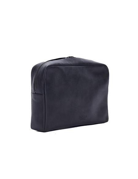 Isaac Reina Leather Wash Bag - Black