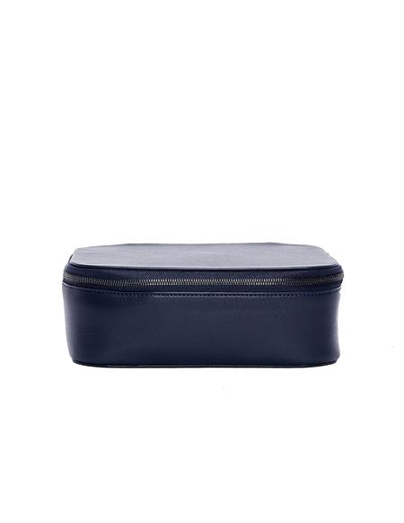 Isaac Reina Leather Wash Bag - Navy Blue
