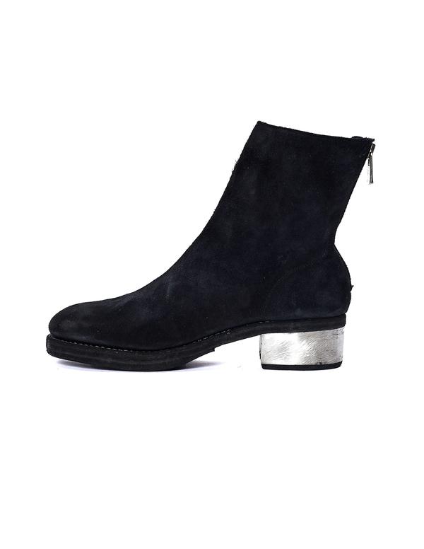 Guidi Suede Metallic Heel Boots - Black