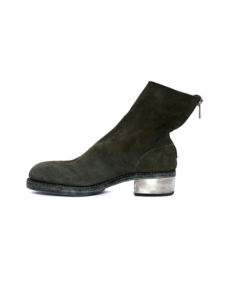 Guidi Suede Metallic Heel Boots - Green