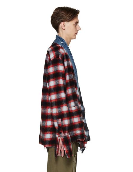 Greg Lauren Checked Wool 50/50 Kimono Shirt - Multicolor