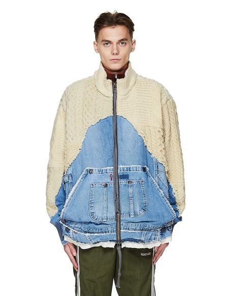 Greg Lauren Wool & Denim 50/50 Jacket - Beige