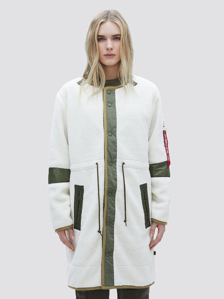 ALPHA INDUSTRIES Pile Liner Sherpa Coat - Ivory/Army Green