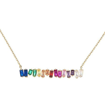 Kiki Rainbow Gem Necklace - 18k Gold Plated