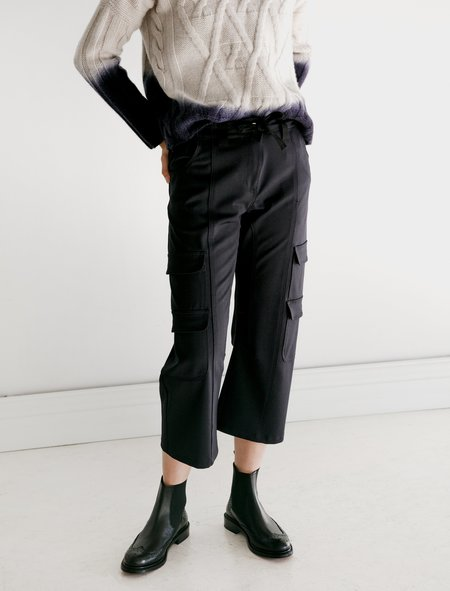 Hache Cropped Cargo Pants - Navy