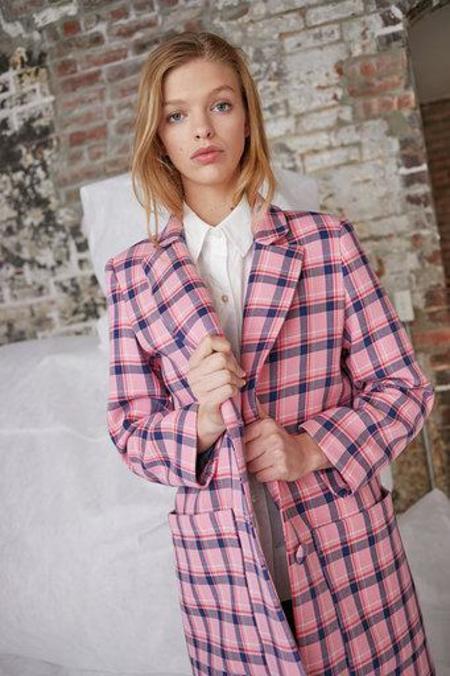 WHiT Parker Coat - Sherbet Pink Plaid