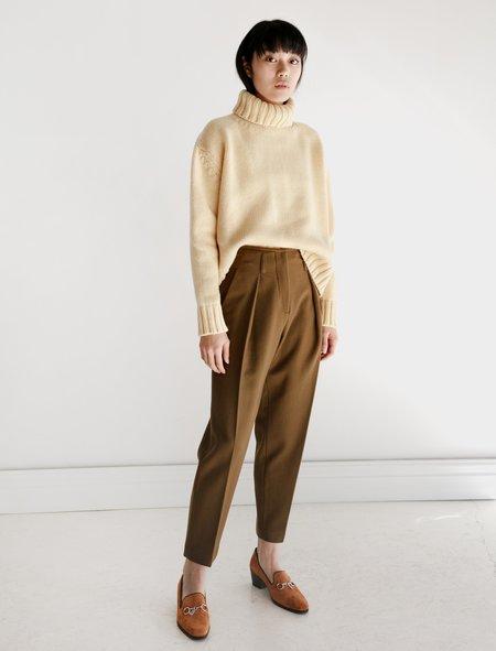 Hache Wool Melton Pleated Pants - Cocoa
