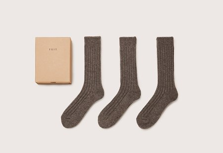 FEIT 3 Pack Wool Socks - gray