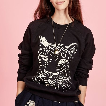 Clare V. Sweatshirt- Black w/ Cream Whiskers