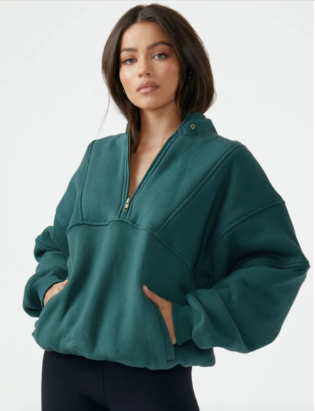 Joah Brown Retro Half Zip - Jade