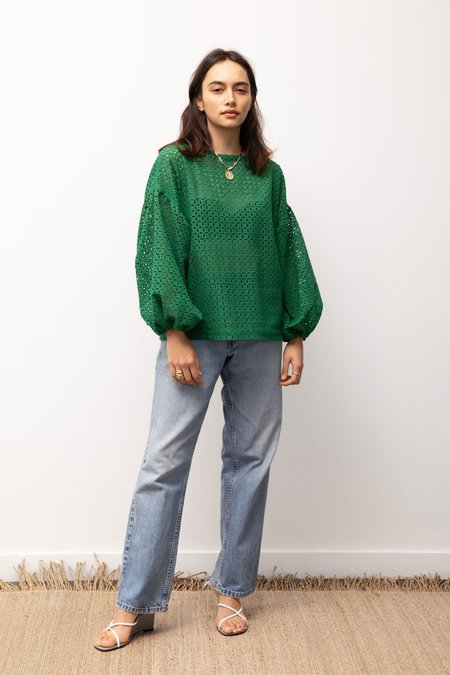 BEFORE MARCH Broidery Bella Blouse - Green