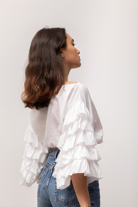 BEFORE MARCH Claudia Crop Blouse - Off-White