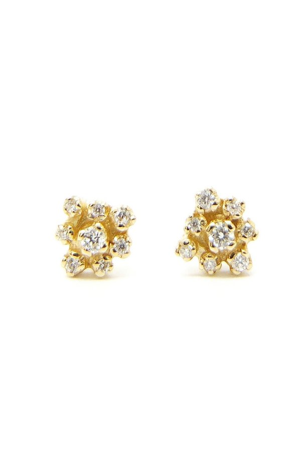n + a Round Cluster Earring - Yellow Gold