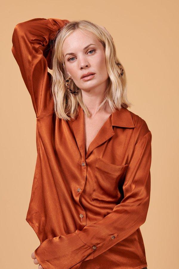 Whimsy + Row Maya Button Up Shirt - Shiny Rust