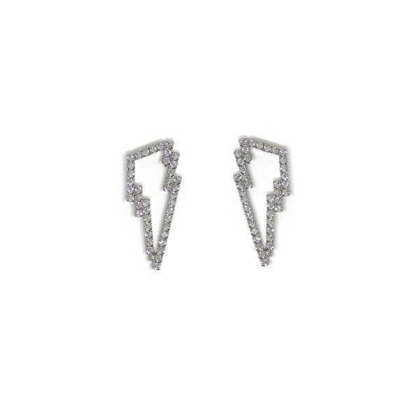Joomi Lim Crystal Lightning Bolt Earrings - Rhodium/Crystal