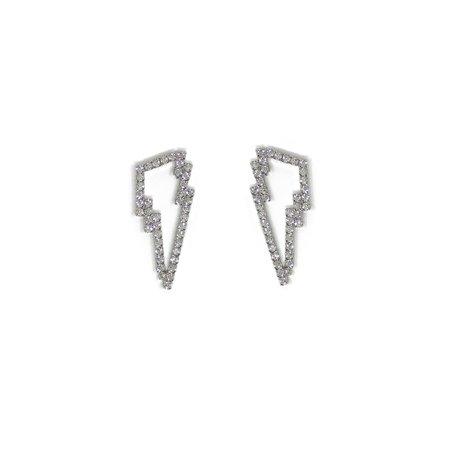 Joomi Lim Crystal Lightning Bolt Earrings - Rhodium/Crystal