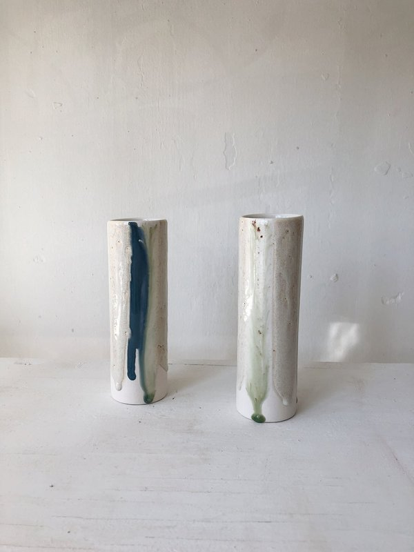 The Object Enthusiast Vertical Stripe Cylinder Vase - Blue/Cream