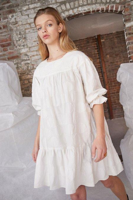 WHiT Yoke Dress - TEXTURED DOT CREAM