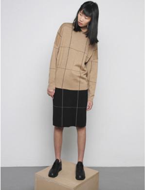 Diarte Norma Merino Wool Windowpane Crewneck Sweater