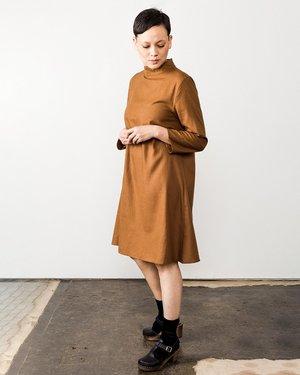 Ali Golden Mock Neck Dress - Copper