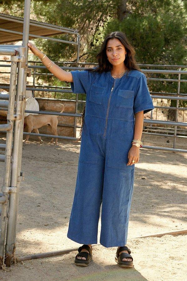 back beat rags Plant Dyed Corduroy Jumpsuit - Blue