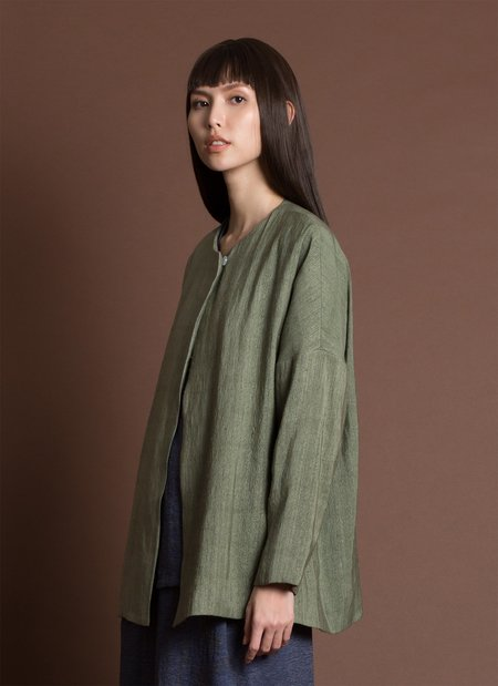 KAAREM Mosaic Dropped Sleeve Textured Jacket - Seaweed Green