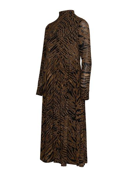 Ganni Printed Georgette Midi Dress - Tiger