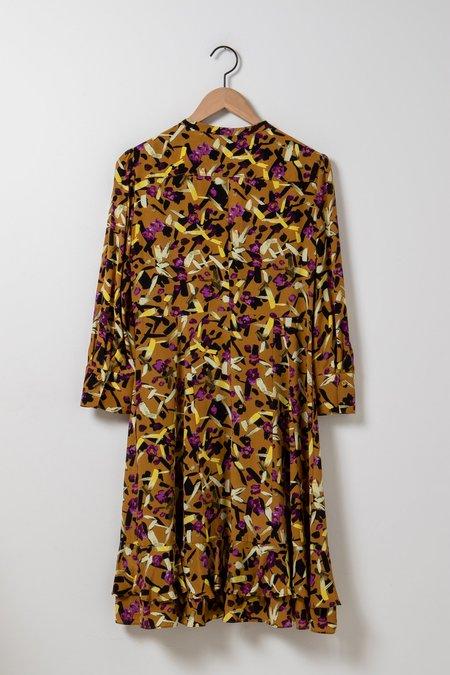 Dorothee Schumacher Abstract Flowering Dress - Goldenrod/Purple Multi Flowers