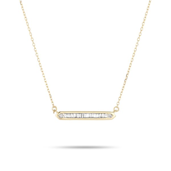 ADINA REYTER BAGUETTE BAR NECKLACE - 14k yellow gold