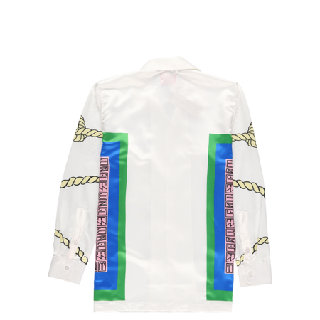 Jungles Bandana Long Sleeve Rayon Shirt - White