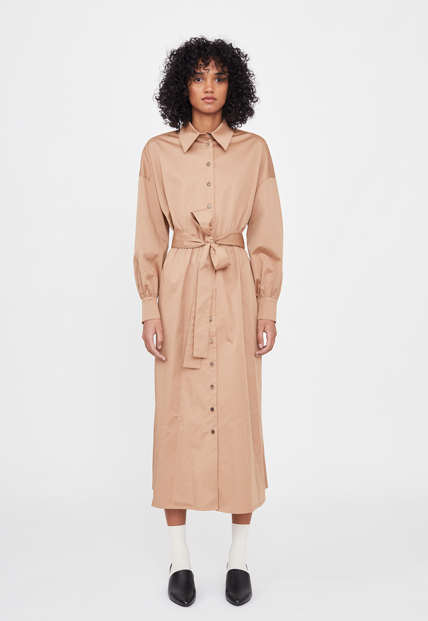 Rita Row Classic Collar Tie Waist Dress - Beige