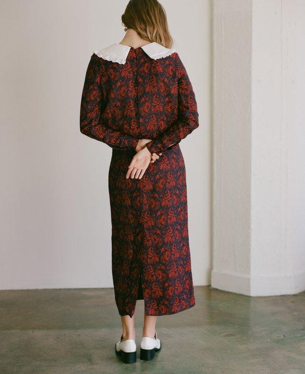 Suzanne Rae Paisley Jacquard Peter Pan Collar Dress
