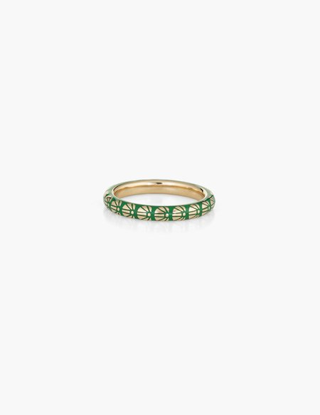 Kathryn Bentley Green Flower Motif Enamel Ring - 14k gold
