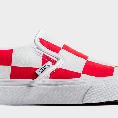 VANS Classic Slip-On Leather Check Sneakers - White/Red