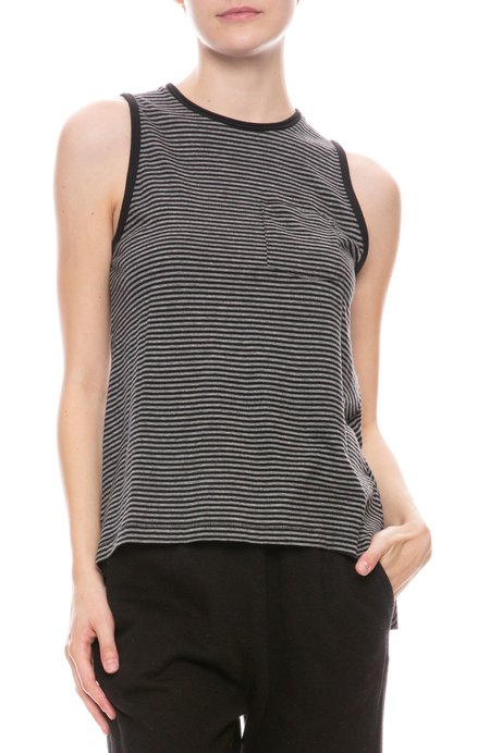 ATM Stripe Jersey Tank - Black/Heather