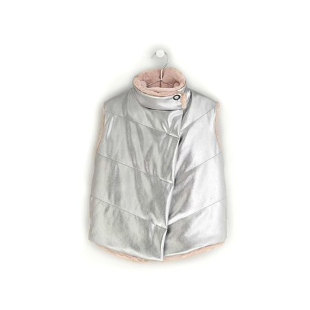 Kdis Andorine Oversized Metallic Quilted Vest - Silver/Pink