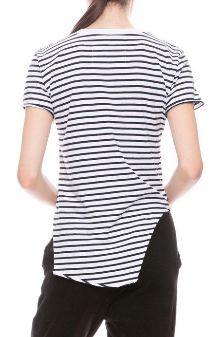 FRANK & EILEEN TEE LAB Round Hem Stripe Jersey T Shirt - WHITE/BRITISH ROYAL NAVY STRIPE