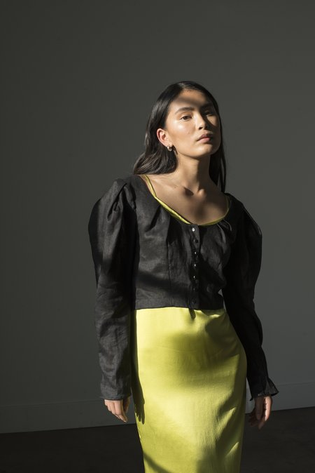 Pari Desai Paros Linen Blouse - Black